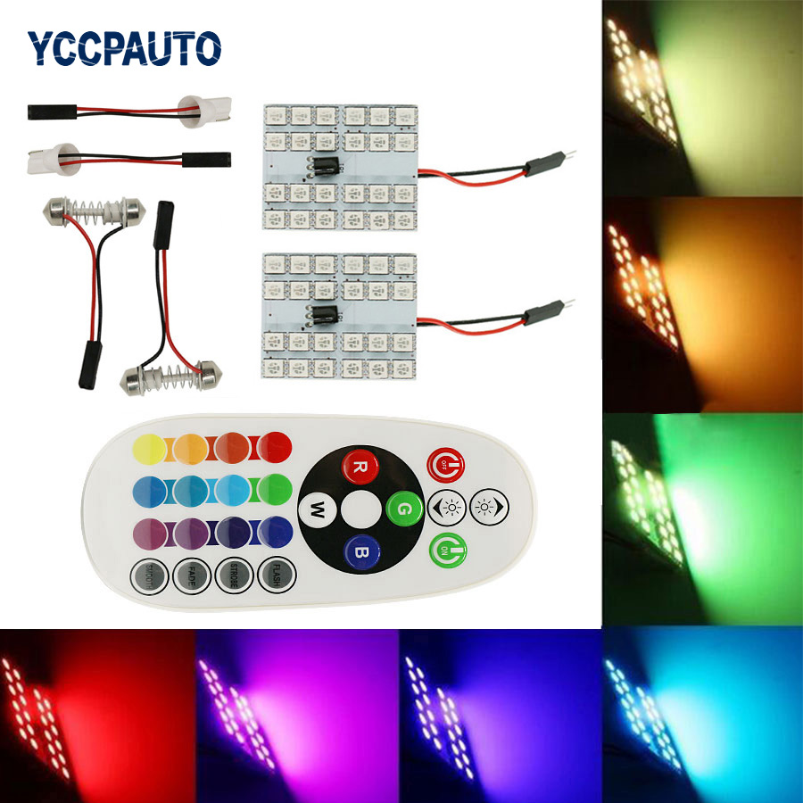 T10 Festoon Dome Reading RGB LED Interior Light Panel Car Auto Map Lamp Inner Bulb w/ Remote Control 24led Flash Strobe 16 Color cyan soil bay festoon 36mm led bulb c5w c10w 4014 16 smd canbus error free auto interior dome lamp car styling reading light