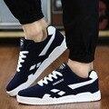 Venta caliente Nueva Marca de moda de Los Hombres Zapatos Casuales de Encaje Hasta Zapatos hombres 2016 Zapatos de Los Planos Hombres Entrenadores Negro 45 46 Gran Ventaja tamaño