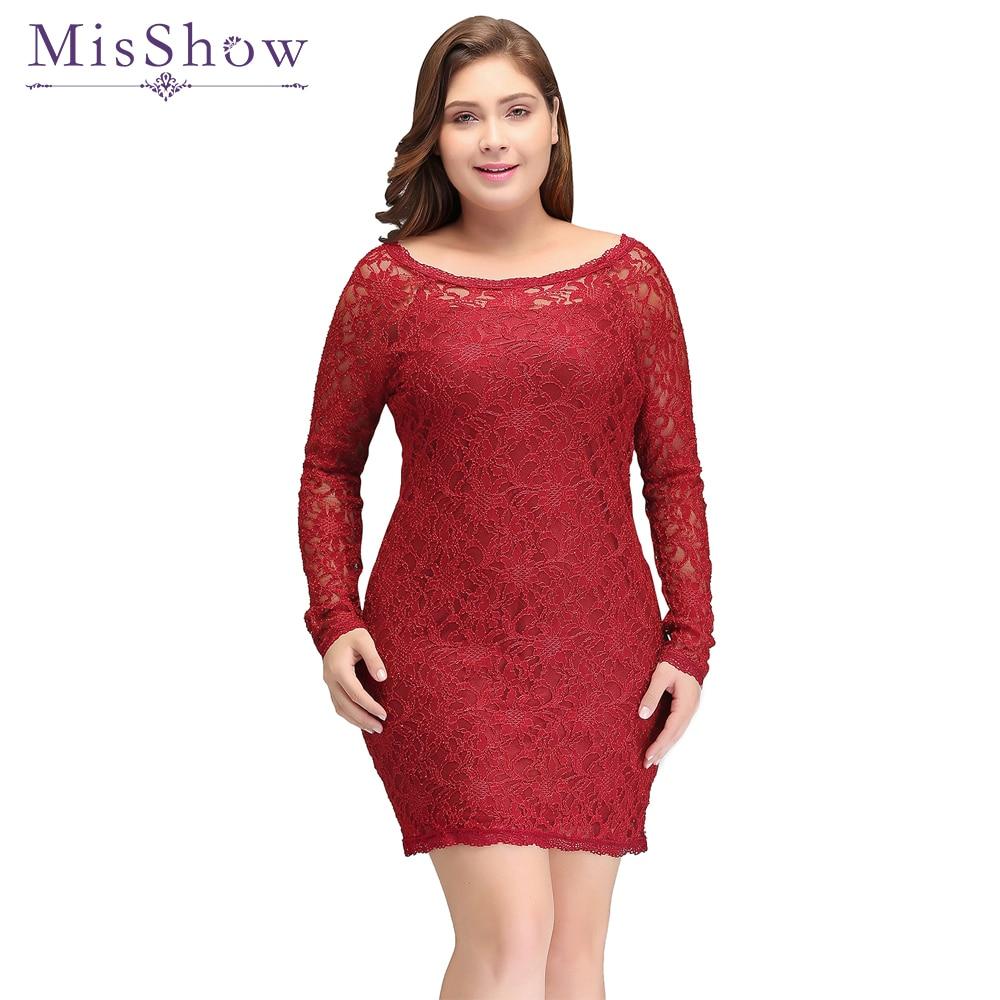 MisShow Women Plus size Short   Evening     Dresses   Vestidos Long Sleeve Vestido De Renda Red Lace Cheap   Evening   Party   Dress   2019