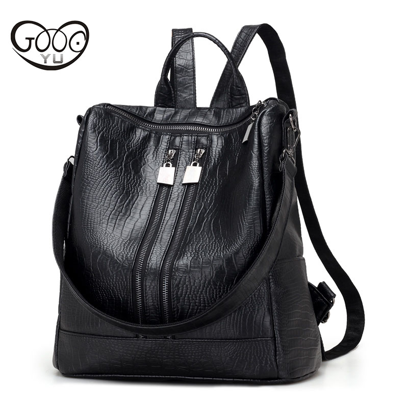 Factory direct sales GOOG YU leather backpack Stitching leather bags women with a charging interface