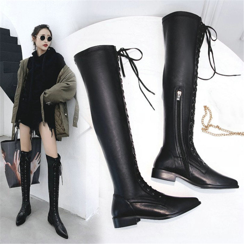 NAYIDUYUN Thigh High Boots Women Black Cow Leather Lace Up Knee High Riding Booties Low Heel Tall Shaft Punk Sneaker Oxfords lace up plunge neckline high low sweater