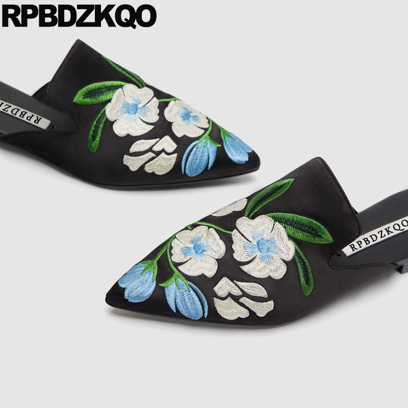 Women Black Handmade Pointy Flower Chinese Embroidered Shoes Sandals Floral Large Size Mules Satin Embroidery Flats Slippers clearance sale spring chinese style flower embroidery handmade women shoes embroidered fashion flats shoes for ladies 4 colors