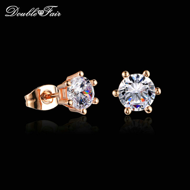 Double Fair Simple OL Style Cubic Zirconia Stud Earrings For Womem Rose Gold/ Silver Color Fashion Earing Jewelry Earring DFE035
