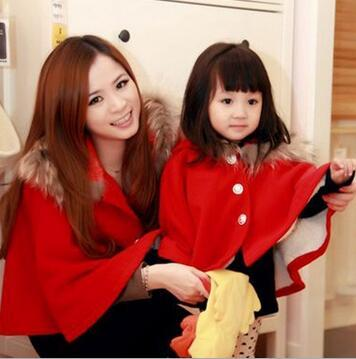 Новое Прибытие Мать И Дочь Одежда Сплошной Цвет Roupas Infantis Menina Шерстяной Плащ Пальто для Девочки Семья Clothing