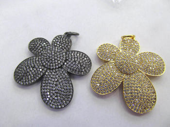 2sets 30-50mm Micro Crystal Pave Diamond Pendant Flower Fluorial petal Jewelry Focal silver gold gunmetal beads