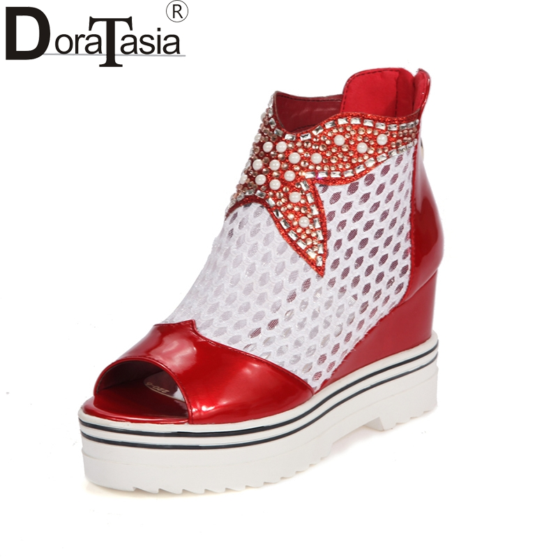DoraTasia new hot sale large size 34-43 brand shoes woman fashion platform high heels casual sandals woman shoes girls footwear kemekiss woman new falt casual shoes fashion women dress sexy p11893 hot sale eur size 34 43