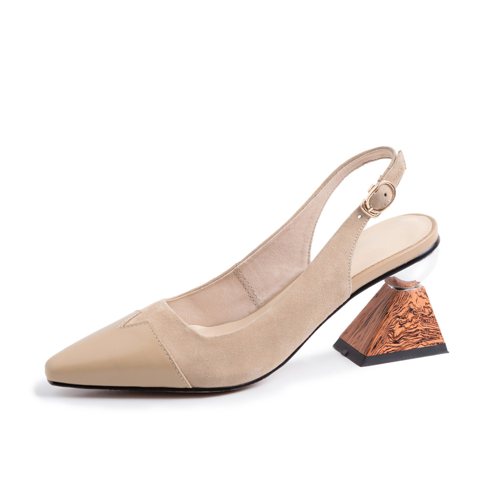 Blue Slingback ผู้หญิงไม้สามเหลี่ยม 7 ซม.รองเท้าส้นสูงทำงานสำนักงานสุภาพสตรีรองเท้าตื้นสีดำ Apricot Elegant MMS05 MUYISEXI-ใน รองเท้าส้นสูงสตรี จาก รองเท้า บน   3