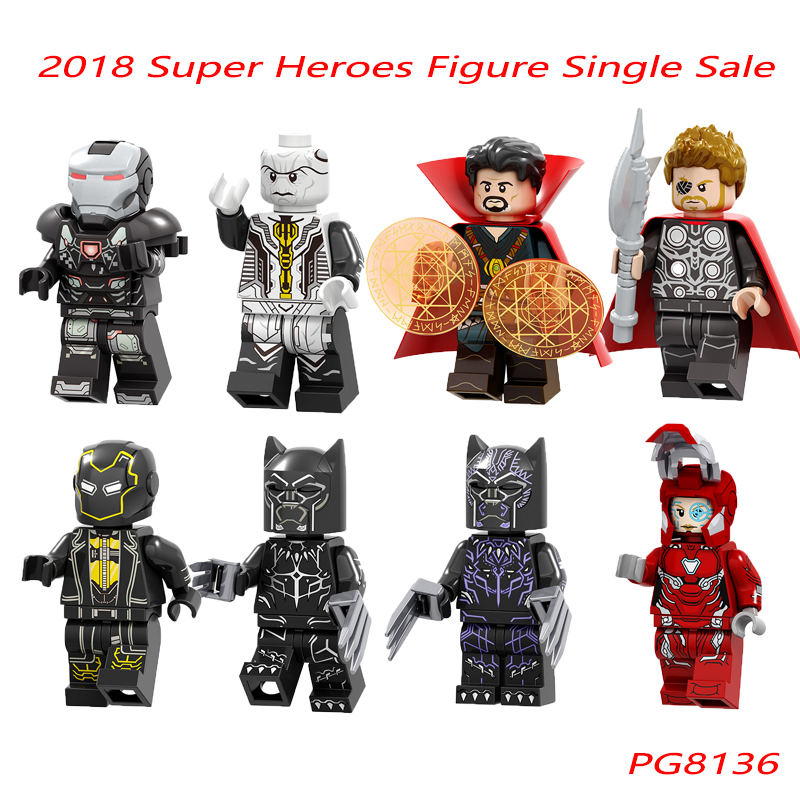 Super Heroes Thor War Machine Black Panther Doctor Strange Ebony Maw Dolls Building Blocks Single Sale Children Gift Toys PG8136