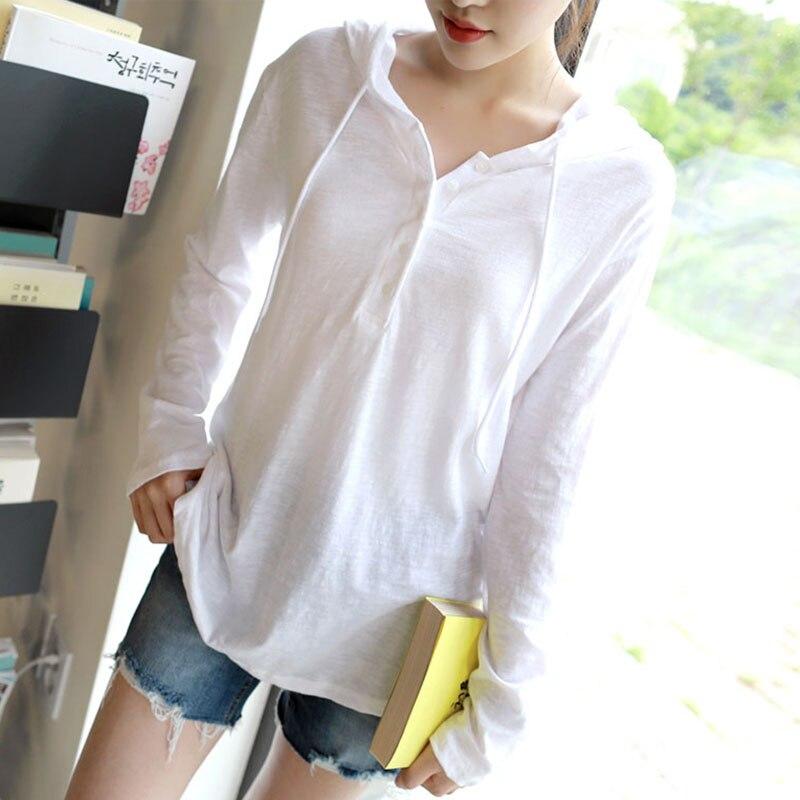 44e758663b Kobiety koszula bluzki topy ubrania damskie stylowe modne koreańskie ubrania  z długim rękawem z kapturem dekolt