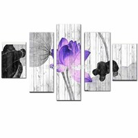 Hand Painted Abstract Five pieces Combination Louts FLower Oil Painting on Canvas Louts Wall PicturesLiving Room Home Wall Decor