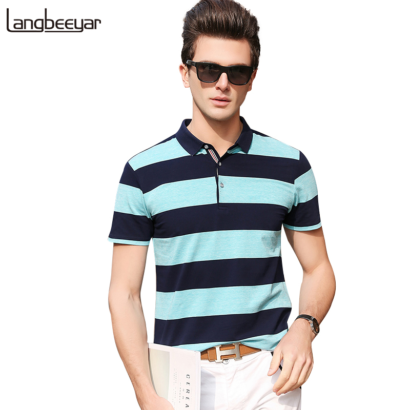 Senior 2018 New Fashion Men   Polo   Shirt Brands Coarse Stripe Slim Fit Short Sleeve   Polo   Shirts Men Striped Casual Poloshirt Men