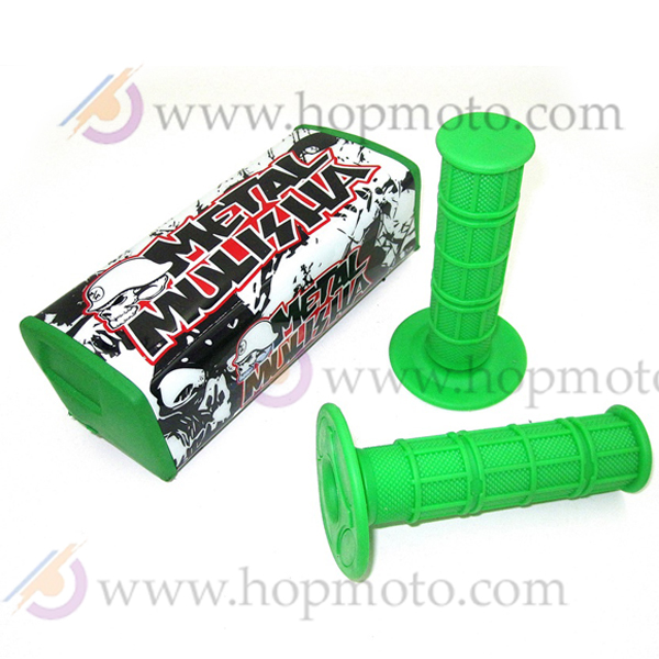 Green Colour Meshalia Dirt Pit Bike Handle Bar Breast Chest Pads Protector and Handlebar Grips KLX
