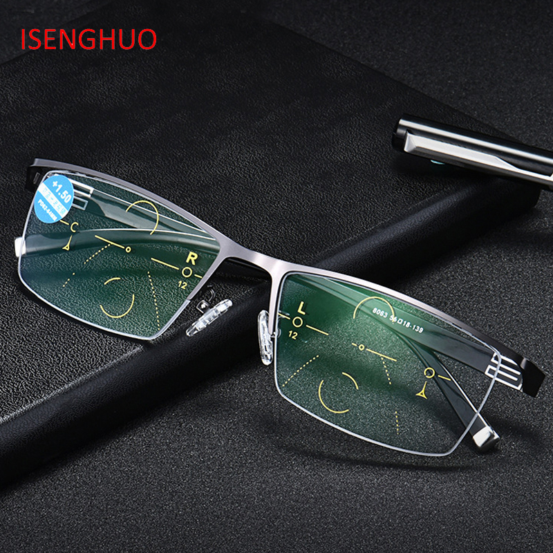ISENGHUO Adjustable Vision Bifocal Transition Photochromic Progressive Reading Glasses Multifocal Eyeglasses UV400 Sun Glasse