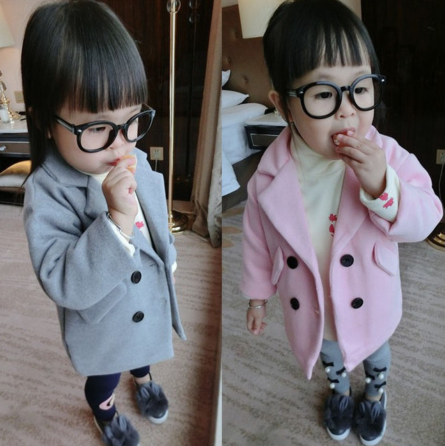 Free shipping 2017 Baby Girls Outerwear Coats Children Thick Double-breasted Coat Clothing Kids Winter Spring Woolen Jackets