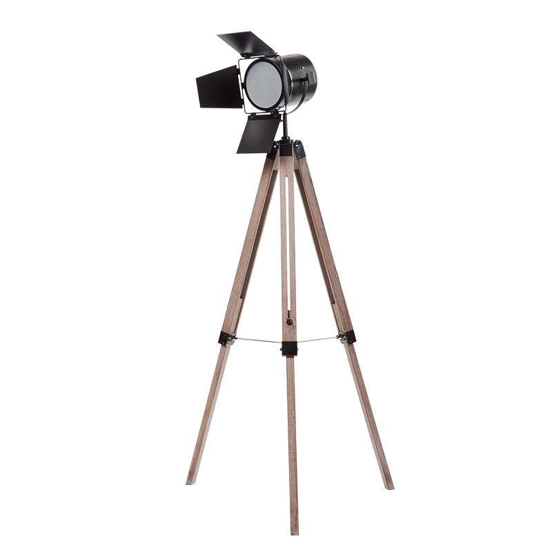Industrial Light Stands: Nordic Loft Industrial Vintage Wood Tripod Standing Lamp