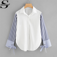 Sheinside Colorblock Striped Sleeve Tie Detailed Blouse Button Long Sleeve Top 2018 Spring Women OL Work