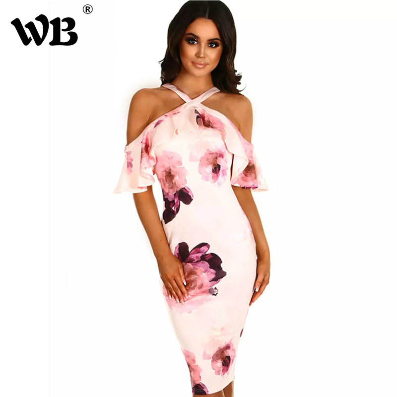 3 Color Summer Women Vintage Flower Print Pinup Halter Wiggle Pencil Dress In Beige Plus Size 2018 Vestidos Retro Party Dresses ...