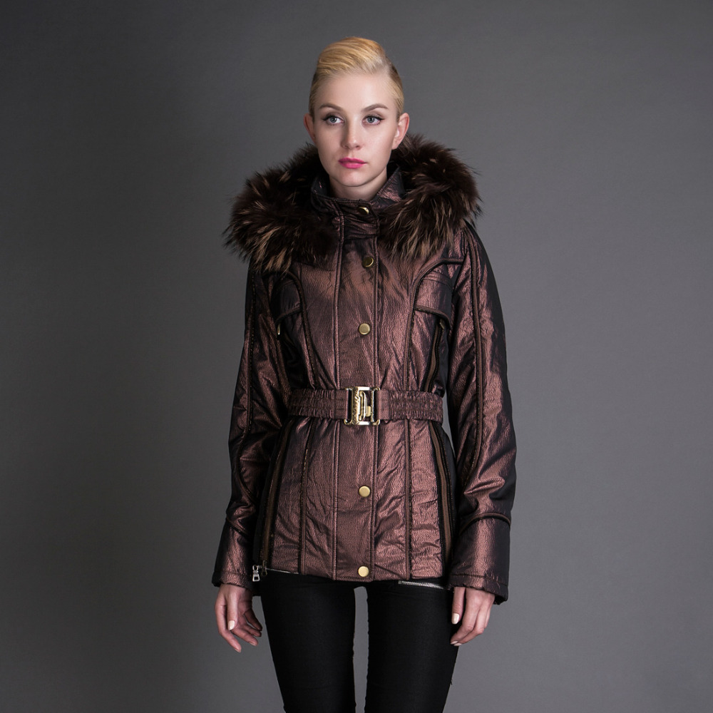 Basic EDITIONS Women Winter Coat Metallic Silk Fabric With Raccoon Fur Collar Cotton Jacket - 8059 basic editions fall winter brown metallic silk fabric cotton coat with rabbit fur collar with belt covered button 7001d11