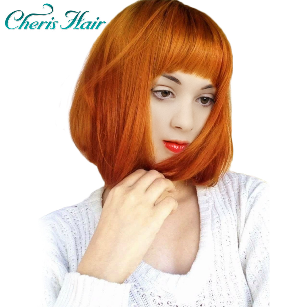 Synthetic Wigs For Women Yellow Orange Color Lolita Wig 2019 New Arrivals Female Wig Cosplay 12 Inch False Hair Wigs With Bangs