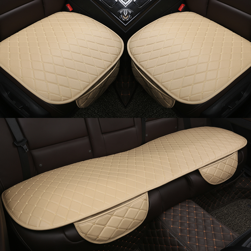 3 PCS/SET Universal Leather Car Seat Cover Cushion Front Rear Backseat Seat Cover Auto Seat Protector Mat Pad Convenient Cleanin car seat cover winter warm velvet seat cushion universal front rear back chair seat pad for suv vehicle auto car seat protector