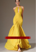 купить free shipping robe de soiree 2014 new fashion sexy backless yellow long chiffon vestido de festa party gown evening Dresses недорого