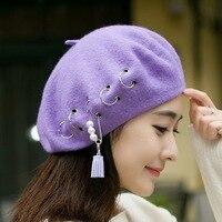 Winter 100 Wool Beret England Women Hoop Pearl Pin Tassels Knitted Hat Hip Hop Woolen Painting