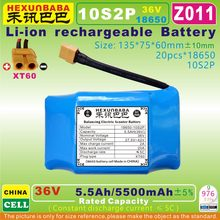 [Z011] 36V,37V 5.5Ah / 5500mAh Li-ion battery (18650 * 20pcs / 10S2P) for 2 Wheel smart self balancing electric Scoote (CN cell)(China)