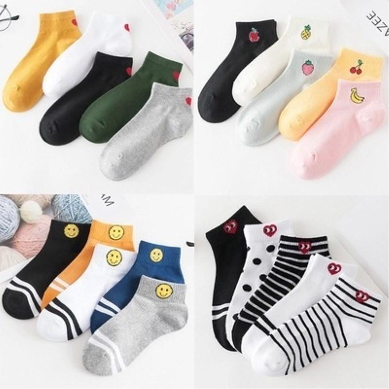 5 Pair/Pack women's Cotton boat   socks   female fruit love smiling face pure Color Summer   Socks   baseball girls   socks