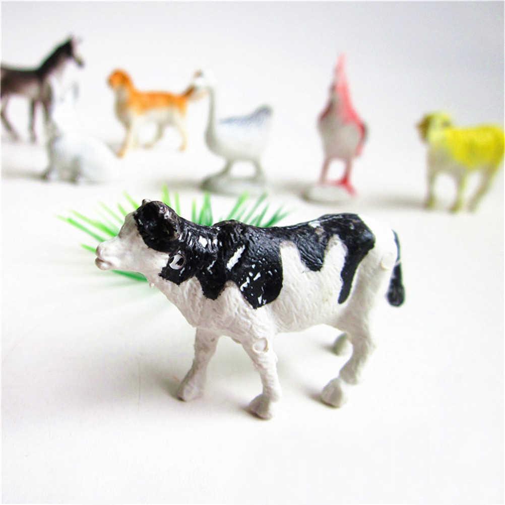 8Pcs piccolo di plastica di Simulazione cavallo gatto cane mucca maiale Pollo pecore anatra Regalo Per Bambini gli animali della Fattoria modelli figure figurine set di giocattoli