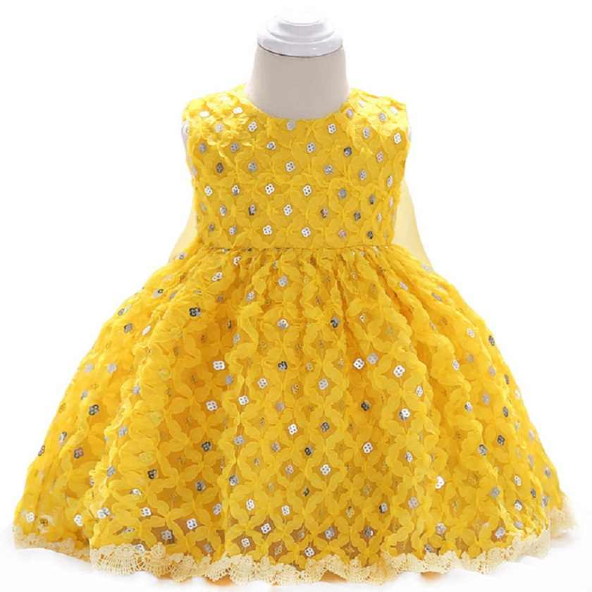 95a71bcfa700c1f Желтая Одежда для новорожденных летнее платье для маленьких девочек платье  принцессы с пайетками Нарядные платья для