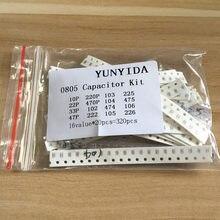 Kit de capacitor 0805 smd, 16 valores * 20 pçs = 320 peças 10pf-22uf, amostras