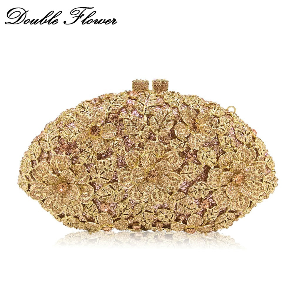 Double Flower Dazzling Champagne Flower Crystal Clutch Evening Bags For Women Formal Wedding Party Diamond Handbag