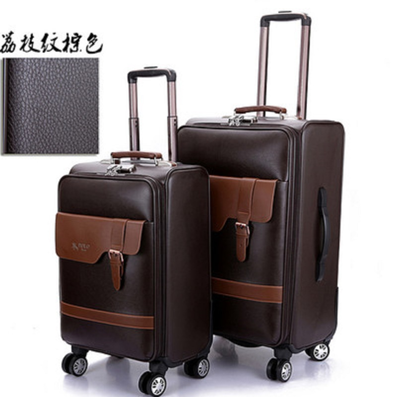 Extravagant and noble business simulation leather 20 24 inch boarding Rolling Luggage Spinner brand Travel Suitcase
