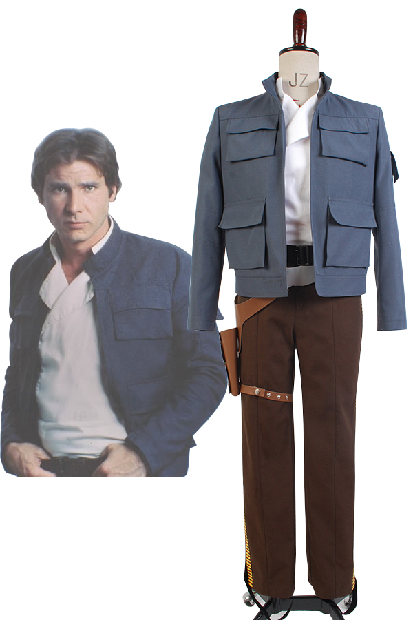 Star Wars Cosplay Empire Strikes Back Han Costume Solo Full Set Jacket and Pants Costume for party halloween