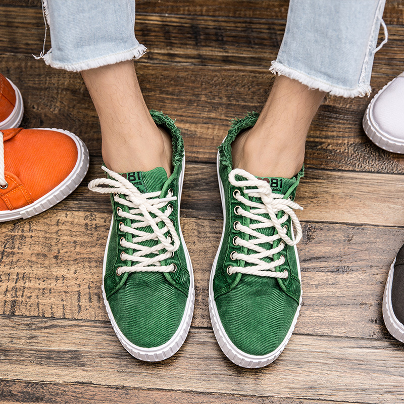 Classic Men Canvas Shoes Breathable Low Lace-up Casual Shoes Retro Style Youth White Shoes for Men Flat Leisure Shoes Sneakers e lov women casual walking shoes graffiti aries horoscope canvas shoe low top flat oxford shoes for couples lovers