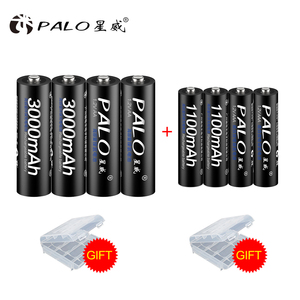 PALO 8 PCS/Lot Rechargeable Battery Set Include 4Pcs AA 3000mAh & 4Pcs AAA 1100mAh NI-MH AA/AAA Rechargeable Batteries For Radio
