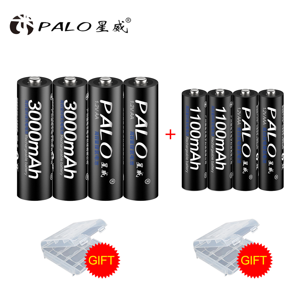 PALO akku 4 Pcs 1,2 V 3000 mAh AA Batterien + 4 Pcs 1100 mAh AAA Batterie NI-MH AA /AAA Akkus aa bateria