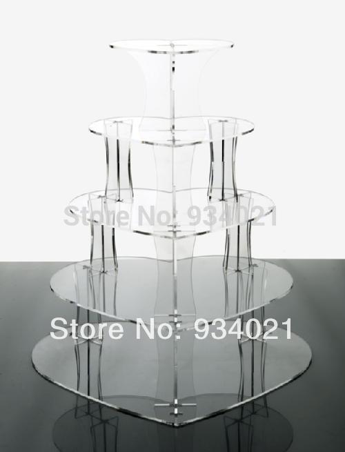 Supports de gâteau de coeur acrylique de 5 niveaux/support de gâteau de tasse acrylique