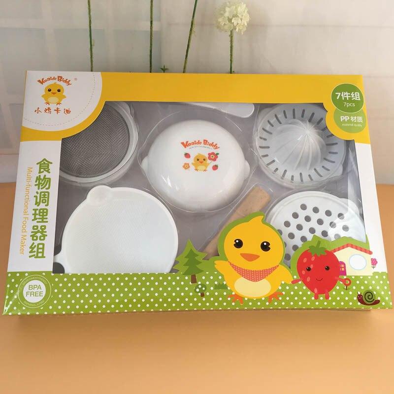 7 Pcs/Set ABS Material Baby Food Grinder Masher Time limited Baby Food Dish Mills Tools Fruit Prato Infantil De Cocina
