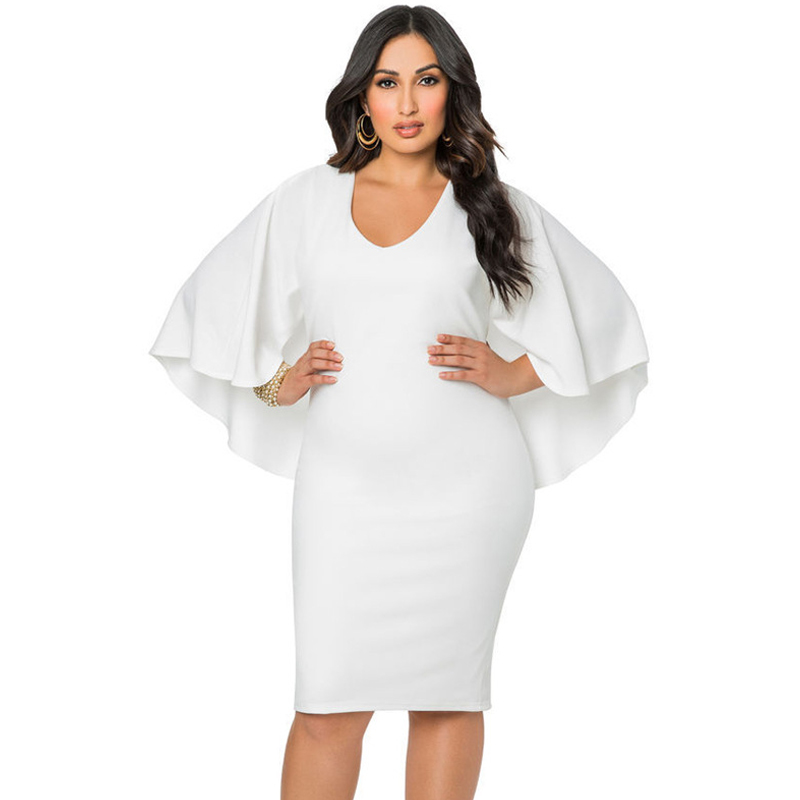 Women's Clothing Fashion Women Cape Dress Cloak Solid Bodycon Party Pencil Summer Dresses Midi 2019 New Vestidos