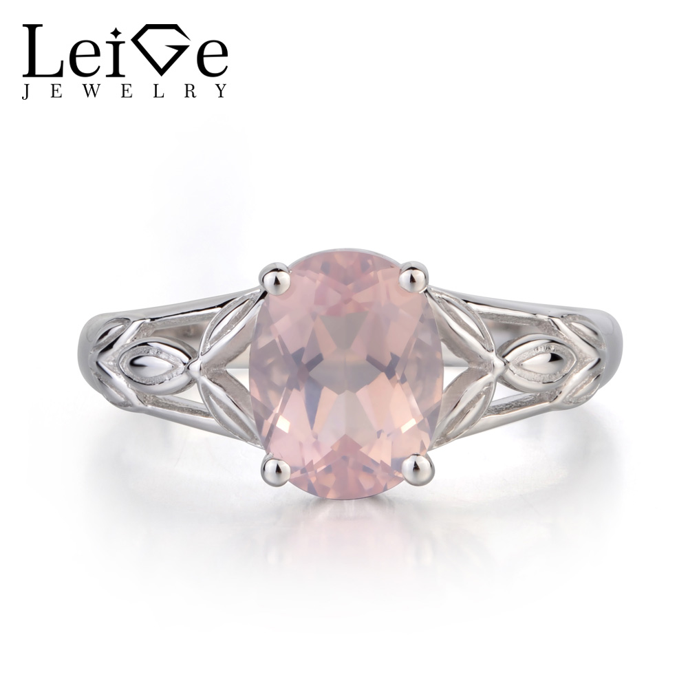 Leige Jewelry Solitaire Natural Pink Quartz Ring Oval Cut Ring Gemstone Wedding Ring Solid 925 Sterling Silver Ring for Women leige jewelry promise ring natural pink quartz ring oval cut pink gemstone 925 sterling silver ring romantic ring for women