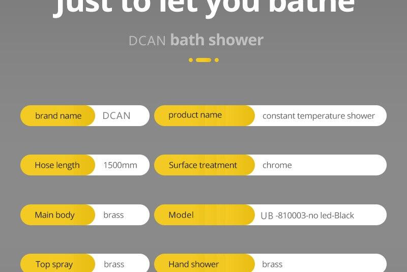 Shower System Black Rainfall Shower Head Brass Body Hand Shower Bathroom Rain Mixer Thermostatic 108 Shower Set (9)