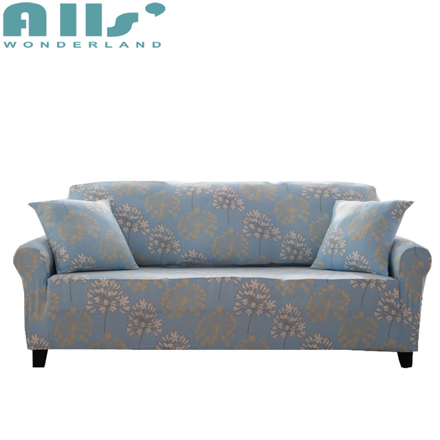 Bleu clair ponçage tissu plein canapé housse élastique stretch coupe ...
