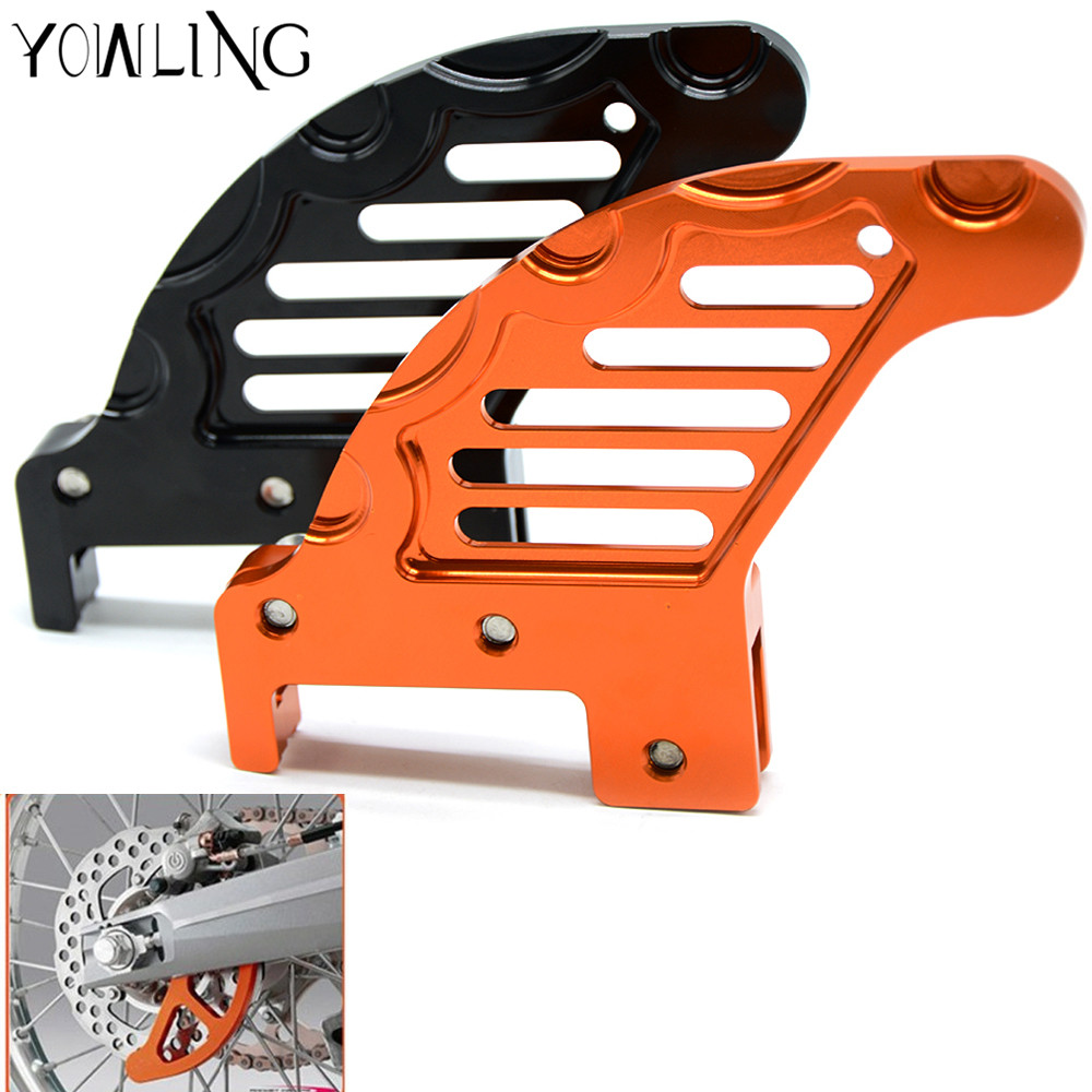 CNC Billet Rear Brake Disc Guard For KTM 125 250 350 450 525 530 SX SX-F EXC MXC XCW SIX DAYS 350 300 500 SX 530 EXC 2003-2017 keoghs real adelin 260mm floating brake disc high quality for yamaha scooter cygnus modify