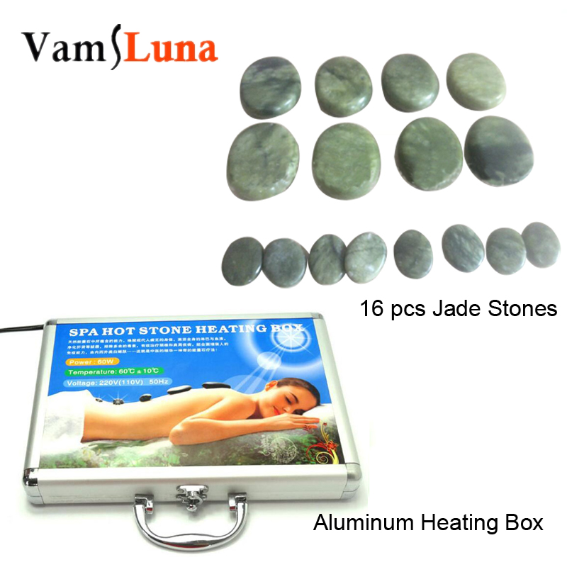 16PCS Green Jade Massage Hot Stone Set and Gem Massage Stone with Heating Aluminum Box