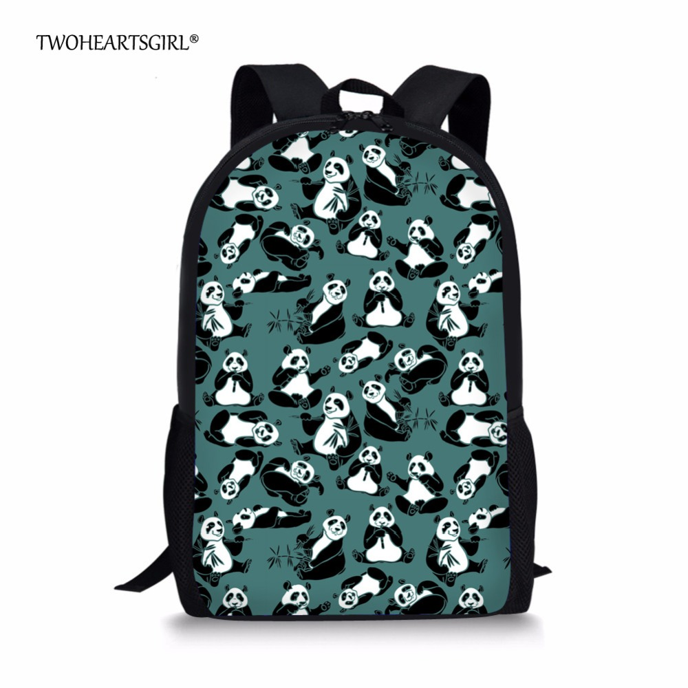 Twoheartsgirl Cute Girls Animal Panda Print Schoolbags Kawaii Student Kids School Bookbags Fashion Middle School Kids Schoolbags