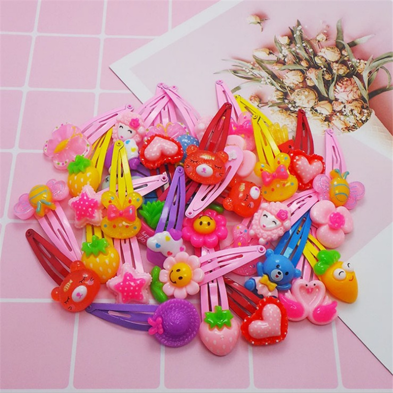 Korean BB Clip Barrette Cute Flower Hair Clip Bow Hairpin Cartoon Hairgrip Candy Color Hairpins Girls Hair Accessories 10Pcs/Lot