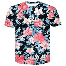 Newest Arrival Hip hop 3D T Shirt Red Flowers Leaves Printed tshirts Short Sleeve Women Men Streetwear mens summer T-shirts