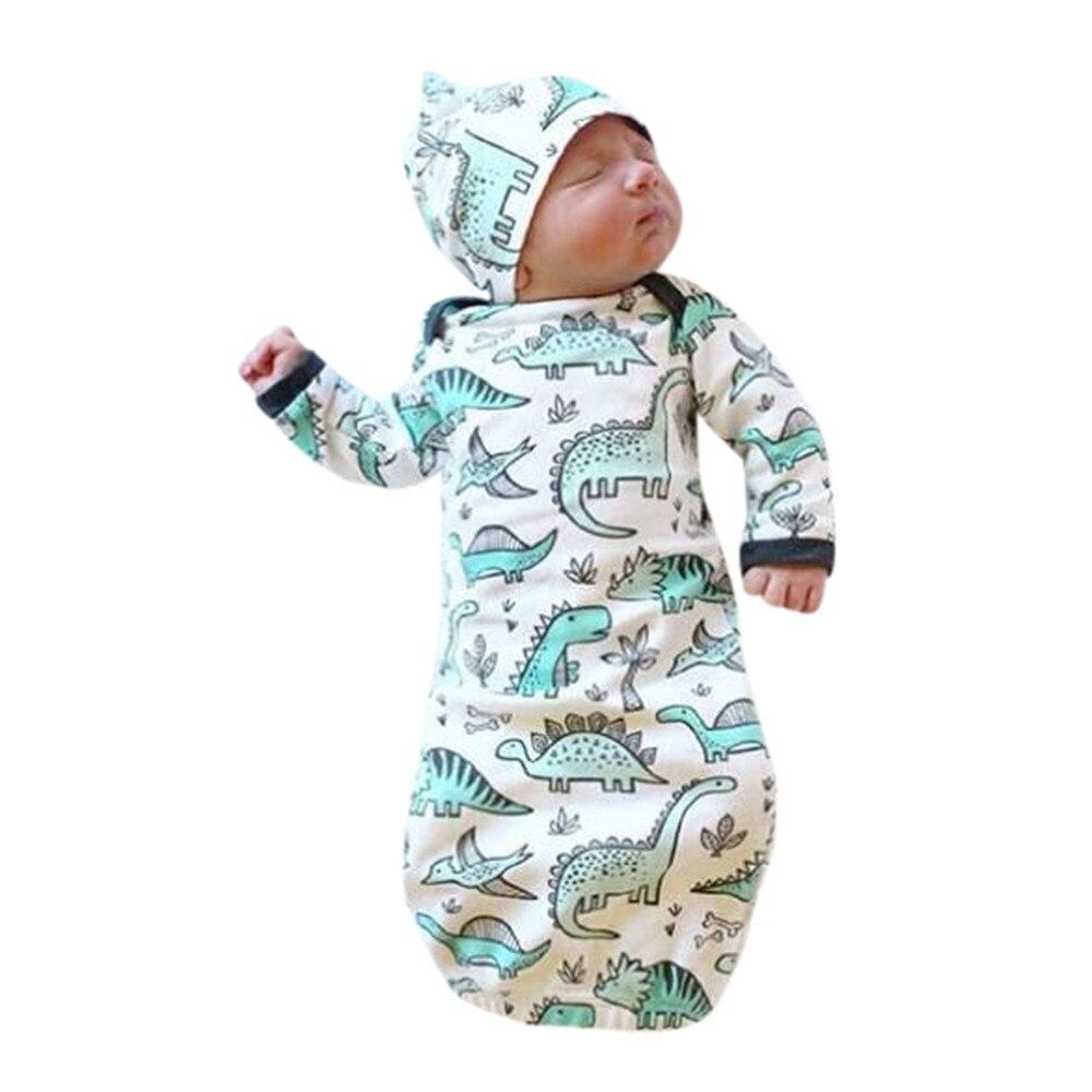 Bello Infante Appena Nato Del Bambino Delle Ragazze Del Ragazzo Del Fumetto Del Dinosauro Pigiama Abito Swaddle Vestiti Del Bambino Pigiama Infantil