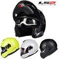 Nuevo Llega El reciente motorcycleoff camino Auténtico casco de La Motocicleta casco abatible hacia arriba doble lente tiene bolsa DOT ECE aprobado LS2 FF325